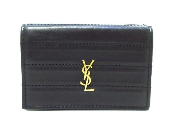 SAINT LAURENT PARIS(サンローランパリ) 3つ折り財布 黒 レザー