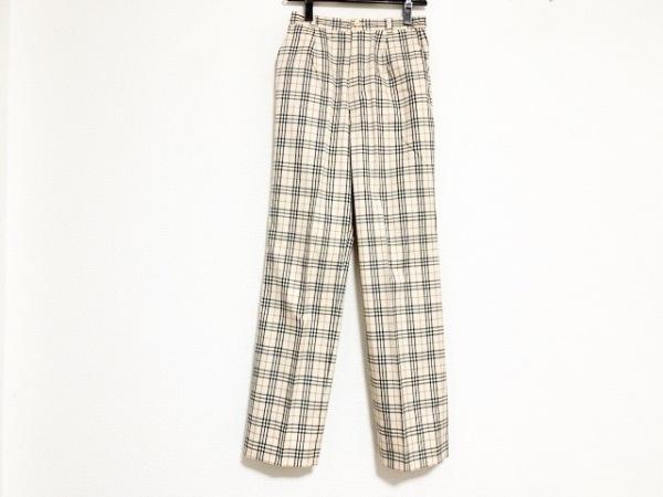 バーバリーゴルフ パンツ サイズ9 M レディース ベージュ×黒×レッド チェック柄