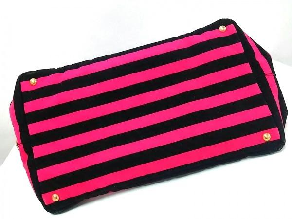 PRADA(プラダ) トートバッグ CANAPA B1872B ピンク×黒 革タグ/ボーダー キャンバス