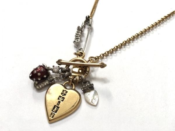 ジューシークチュール ネックレス美品  金属素材×ラインストーン ハート