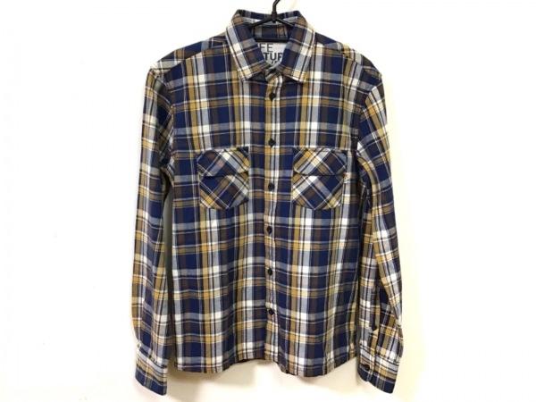 フリーシティー 長袖シャツ サイズ2 M メンズ美品  ネイビー×アイボリー×マルチ
