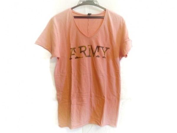 ダブルジェイケイ 半袖Tシャツ サイズL メンズ パープル×ピンク 切りっぱなし加工