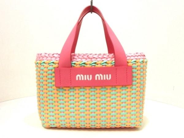 ミュウミュウ トートバッグ美品  - 5BA077 ピンク×ライトグリーン×ベージュ レザー