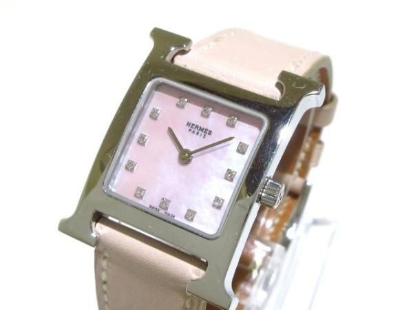 エルメス 腕時計 Hウォッチ HH1.210 レディース SS/シェル文字盤/12Pダイヤ/□H
