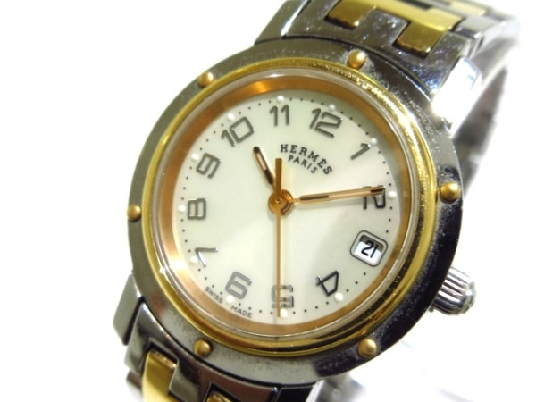 エルメス 腕時計 クリッパーナクレ CL4.221 レディース シェル文字盤 シェルベージュ