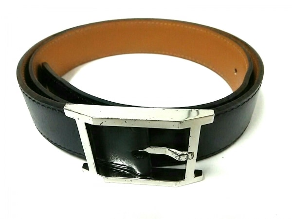 HERMES(エルメス) ベルト 80 黒×シルバー レザー×金属素材