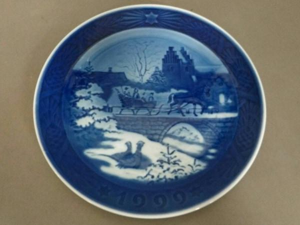 ロイヤルコペンハーゲン 小物美品  ネイビー×ライトブルー 1999イヤープレート 陶器