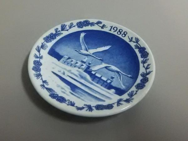 ロイヤルコペンハーゲン 小物美品  白×ネイビー 1988ミニプレート 陶器