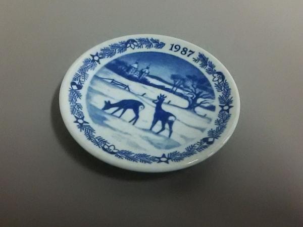 ロイヤルコペンハーゲン 小物美品  白×ネイビー 1987ミニプレート 陶器