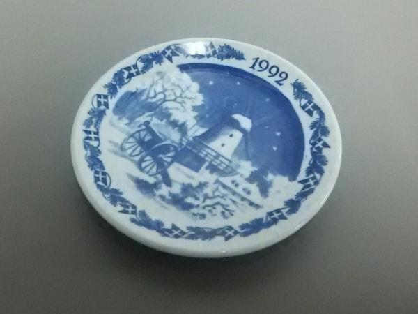 ロイヤルコペンハーゲン 小物美品  白×ネイビー 1992ミニプレート 陶器