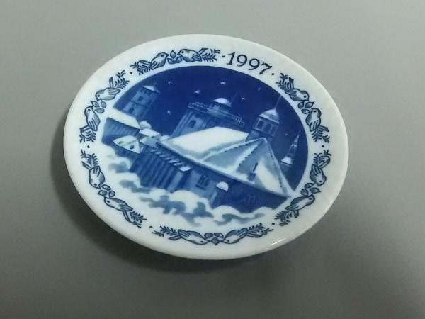 ロイヤルコペンハーゲン 小物美品  白×ネイビー 1997ミニプレート 陶器