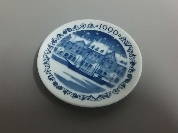 ロイヤルコペンハーゲン 小物美品  白×ネイビー 1999ミニプレート 陶器