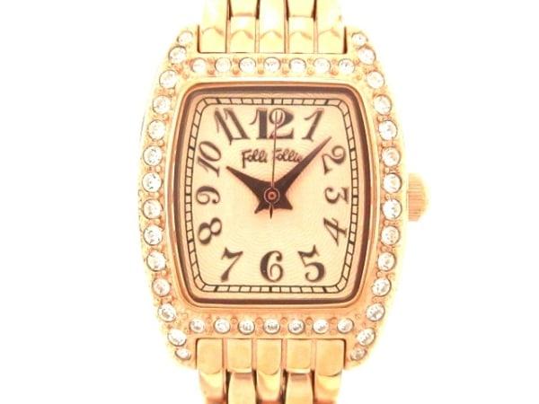 フォリフォリ 腕時計 WF5R142BP レディース ラインストーンベゼル ベージュ