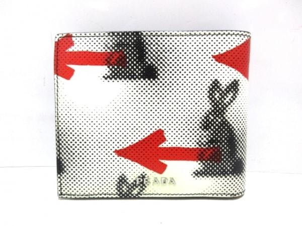 PRADA(プラダ) 2つ折り財布美品  - 2MO738 アイボリー×黒×レッド ウサギ/矢印