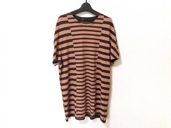 ハイダーアッカーマン 半袖Tシャツ メンズ オレンジ×ダークブラウン ボーダー