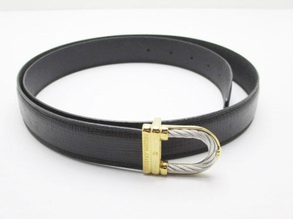フィリップシャリオール ベルト 黒×ゴールド×シルバー レザー×金属素材