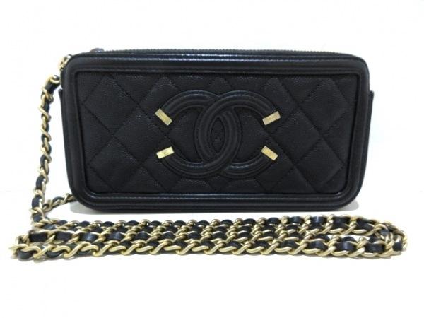 シャネル 財布美品  CCフィリグリー/マトラッセ A84450 黒 グレインドカーフスキン