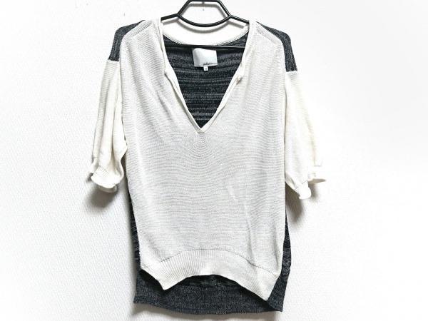 スリーワンフィリップリム 半袖セーター サイズXS レディース 白×ネイビー