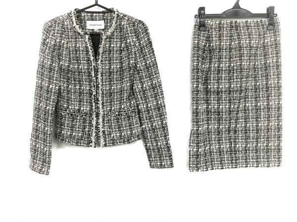 ピンキー&ダイアン スカートスーツ サイズ38 M レディース 黒×白 フェイクパール