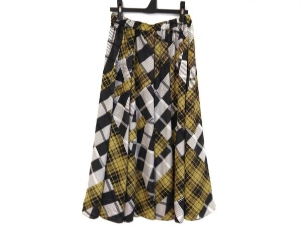ヒロコビス ロングスカート サイズ9 M レディース美品  黒×イエロー×白 チェック柄