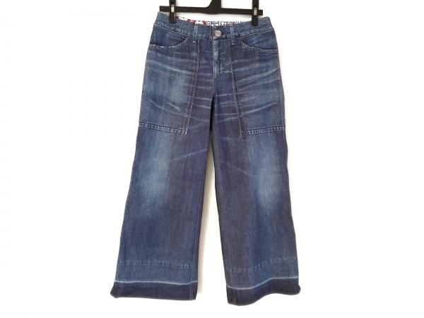 エムビールーカスカシェット パンツ サイズ2 M レディース ネイビー デニムプリント