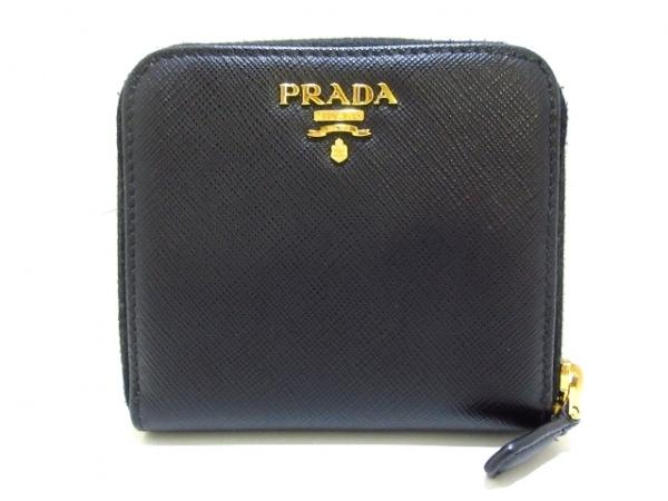 PRADA(プラダ) 2つ折り財布美品  - 黒 ラウンドファスナー レザー