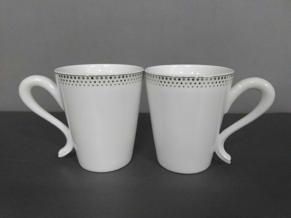 スタージュエリー マグカップ新品同様  白×シルバー スター/2点セット 陶器
