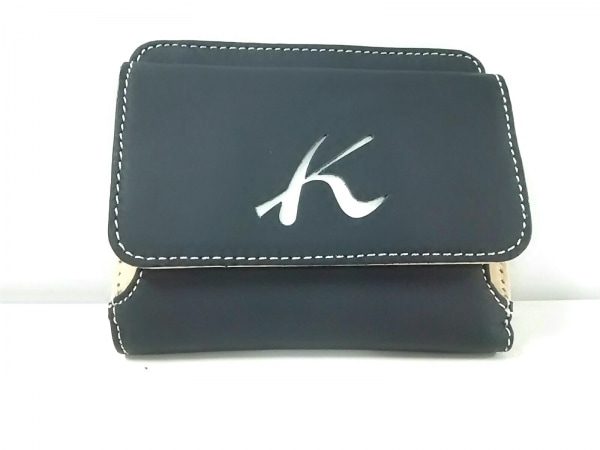 KITAMURA(キタムラ) Wホック財布美品  黒×ベージュ レザー