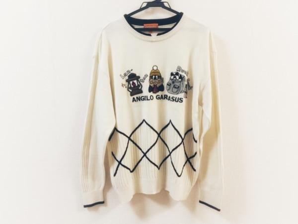 アンジェロガルバス 長袖セーター サイズL メンズ美品  アイボリー×黒×マルチ