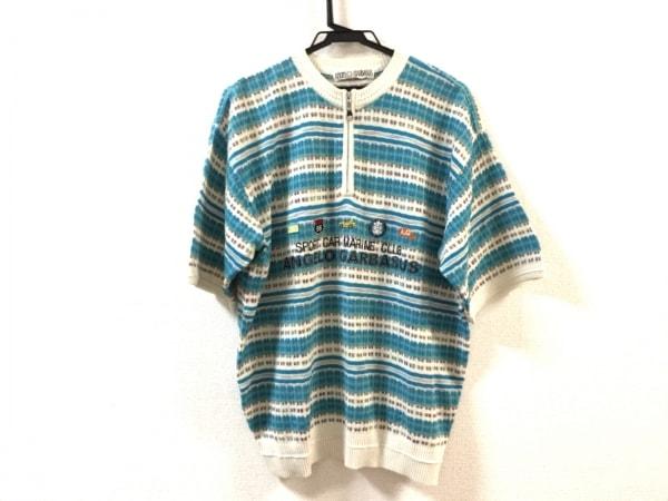 アンジェロガルバス 半袖セーター サイズL メンズ美品  ハーフジップ/ボーダー