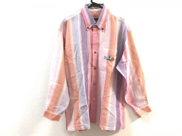 アンジェロガルバス 長袖シャツ サイズL メンズ美品  ピンク×パープル×マルチ