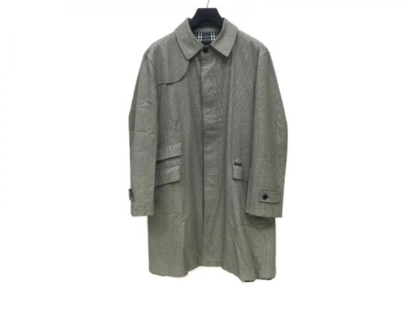 バーバリーブラックレーベル コート サイズL メンズ 白×黒×ダークネイビー