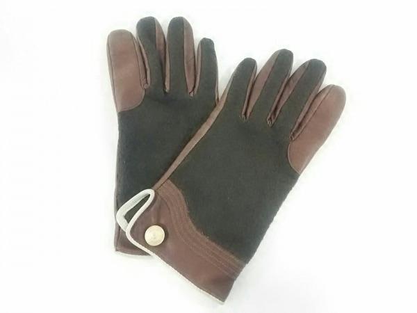 トレジャートプカピ 手袋 レディース ブラウン×アイボリー×ダークブラウン