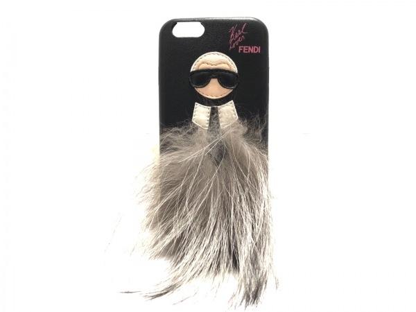 FENDI(フェンディ) 携帯電話ケース美品  - - 黒×マルチ カール ラガーフェルド