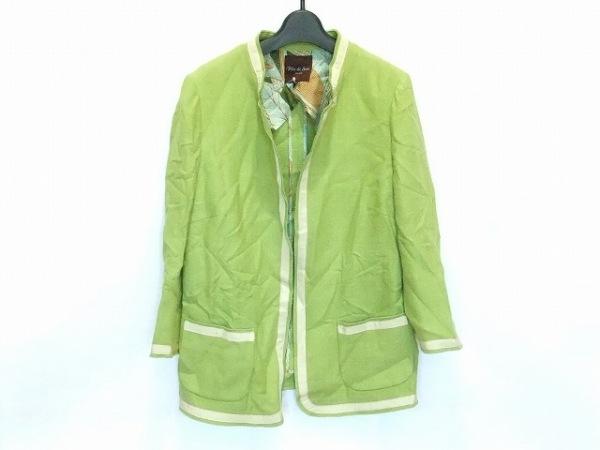フィロディセタ ジャケット サイズ40 M レディース ライトグリーン×アイボリー