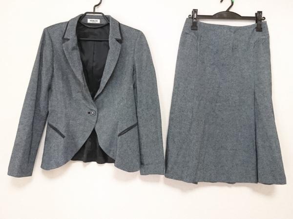 ヒロコビス スカートスーツ サイズ9 M レディース美品  グレー×グリーン×黒