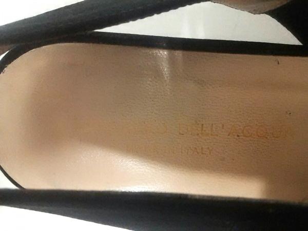 アレッサンドロデラクア サンダル 38 1/2 レディース 黒 アウトソール張替済 サテン