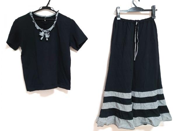 KANEKO ISAO(カネコイサオ) スカートセットアップ レディース 黒×白 チェック柄