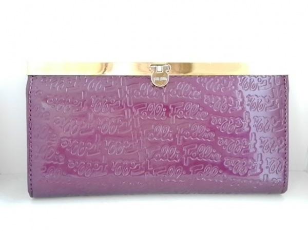 フォリフォリ 長財布 パープル がま口/型押し加工 エナメル(レザー)×金属素材