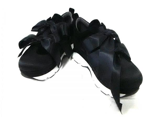 メリージェニー スニーカー M レディース新品同様  黒×白 リボン 合皮×サテン