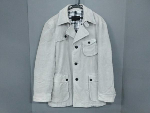 バーバリーブラックレーベル コート サイズL メンズ 白 冬物/コーデュロイ