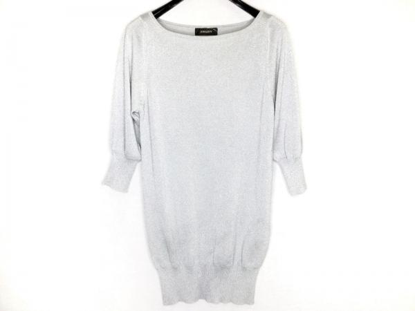 ジャスグリッティー 七分袖セーター サイズ2 M レディース シルバー ロング丈/ラメ