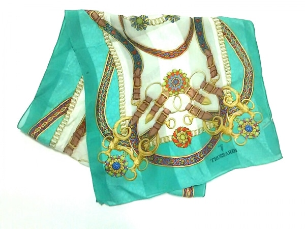 TRUSSARDI(トラサルディー) スカーフ グリーン×アイボリー×マルチ