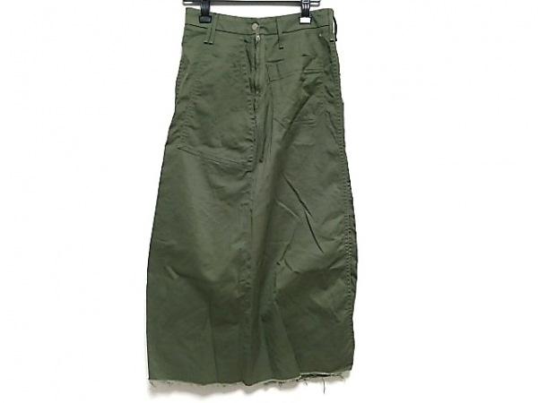 アッパーハイツ ロングスカート レディース美品  カーキ ARMY/裾切りっぱなし