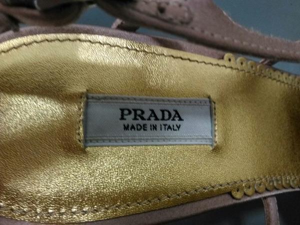 PRADA(プラダ) サンダル 35 1/2 レディース ピンクベージュ×ゴールド×マルチ