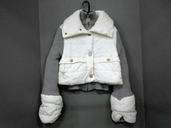 シャネル ダウンジャケット サイズ38 M レディース スポーツライン 白×ライトグレー