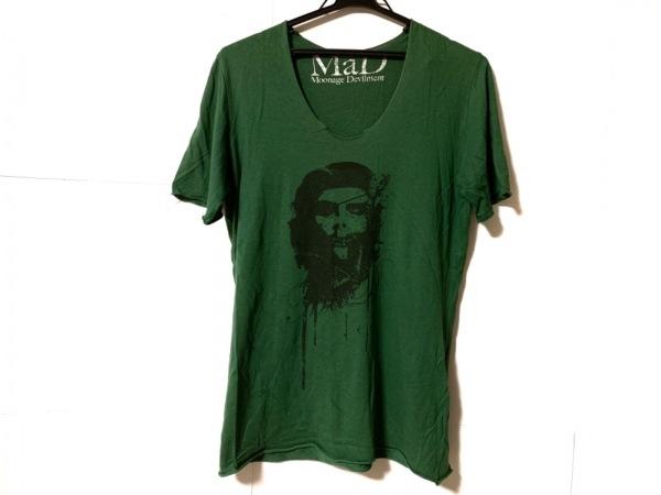 ムーンエイジデビルメント 半袖Tシャツ メンズ ダークグリーン×黒