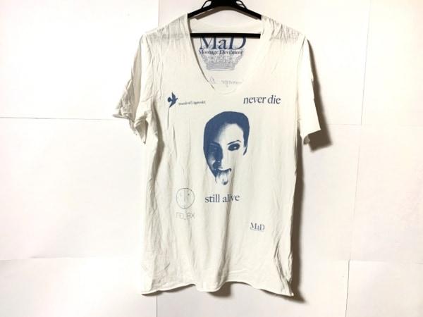 ムーンエイジデビルメント 半袖Tシャツ サイズ44 L メンズ美品  白×ライトブルー
