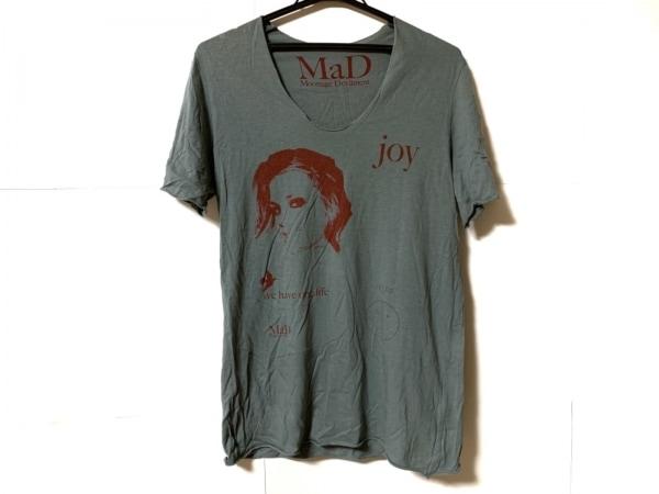 ムーンエイジデビルメント 半袖Tシャツ サイズ44 L メンズ グレー×ボルドー