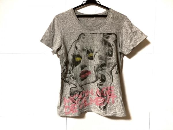 ムーンエイジデビルメント 半袖Tシャツ サイズ44 L メンズ ライトグレー×黒×マルチ
